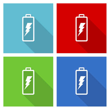 Battery vector illustration, set of simple editable icons in 4 color options