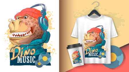 Dinosaur rapper in headphones and a hat. Tyrannosaur, typography slogan. Poster and merchandising. Can be used for print design greeting card used for print design, banner, poster, flyer template.