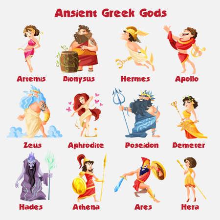 Ancient greek gods cartoon figures sets with dionysus zeus poseidon aphrodite apollo athena vector illustration.