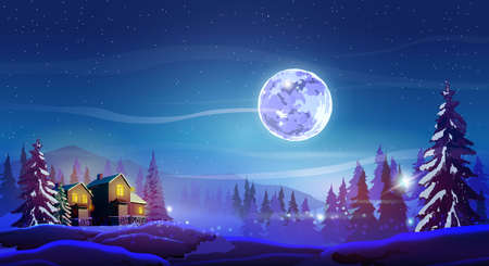 Night beautiful landscape with winter houses, trees, mountain and Moon. Shine with purple moon, snow and deep blue sky. Landscape background for your arts.