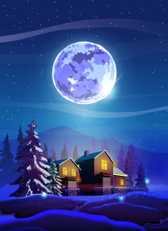 Vertical night beautiful landscape with winter houses, trees, mountain and Moon. Shine with purple moon, snow and deep blue sky. Landscape background for your arts. 向量圖像