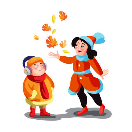 Boy and girl in autumn clothes playing with leaves on the street vector cartoon illustration. Brother and sister, children spending time outdoor isolated.