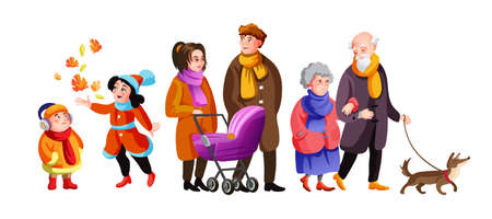 Big family walking at autumn street together vector cartoon illustration. Cute grandparents, parents, children and dog spending time outdoor isolated.