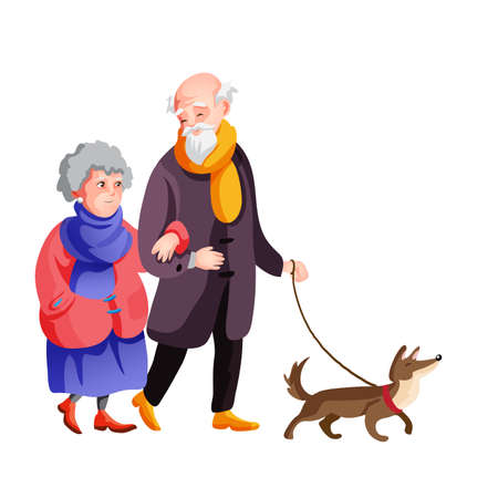 Old family walking at autumn street together with dog vector cartoon illustration. Grandfather and grandmother in autumn clothes are walking outdoor isolated. 矢量图像