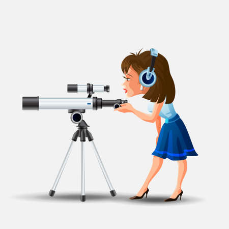 Cute little girl in headphones looking into telescope vector illustration. Colorful female child watching through spyglass isolated on white background. Kid enjoying entertainment at planetarium.