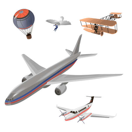 Airplanes vector image design set. Balloon, hang glider, old airplane model, private jet, passenger airplane. Transportation and aircraft illustration and design element set. 向量圖像