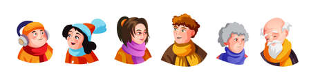 A set of cute big family heads illustrations in various clothes doing different activities with different expressions. Vector stickers or badges. Isolated vector illustration in cartoon style. 矢量图像