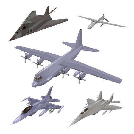 Military aircraft set. Fighter jet, F-117 Nighthawk, interceptor, cargo airplane, spy drone vector illustrations set isolated. Army flying machine. For military aviation concepts.