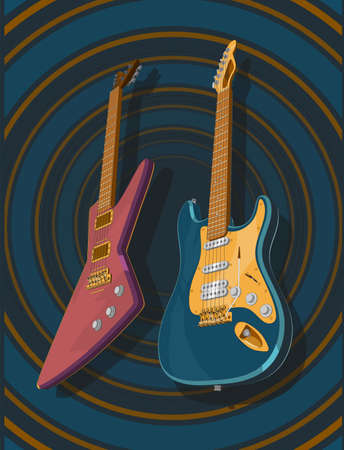 Very accurate 3d realistic colored electric guitars. 3d vector model of guitars illustration. Banner, poster, vintage style picture.