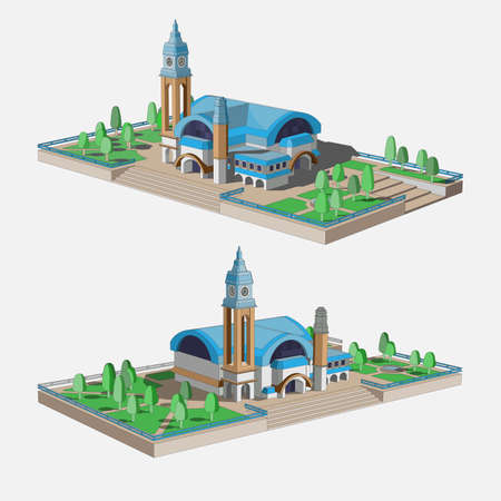 Set with a beautiful 3D model of a building with a blue roof. Two beautiful views for infographic. Station building, historical museum or shopping center.