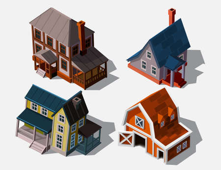 Isometric houses in european style, vector illustration. Collection houses isolated on white for buildings and computer game design. Architectural exterior for cartoon 3d town, game graphics.