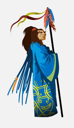 Shaman character in national blue clothes with long staff. Chukchi, Indian. Authentic ritual vector Illustration. The old Indian chief stands and looks into the distance. Isolated.