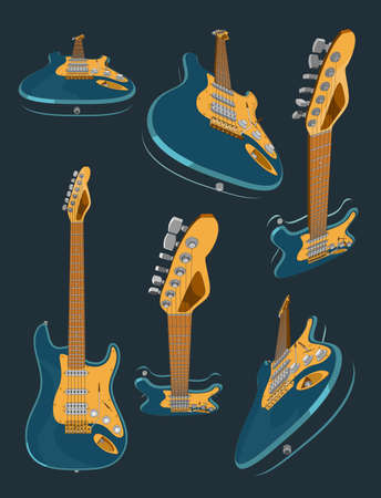 Set with 3d realistic colored electric guitar. Different angles and 3D projections of guitar. 3d vector model of guitars illustration. Banner, poster, vintage style picture. Vettoriali
