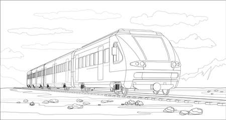 Vector coloring page with 3d model modern high-speed train and bright landscape. Beautiful vector illustration with train travel. Beautiful high-tech train graphic vector. Ilustración de vector