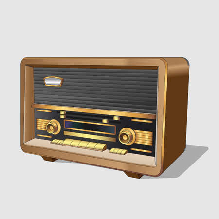 Vector neat accurate illustration of vintage old radio. Classic old radiorecord. Realistic retro old turntable on white background. Isolated