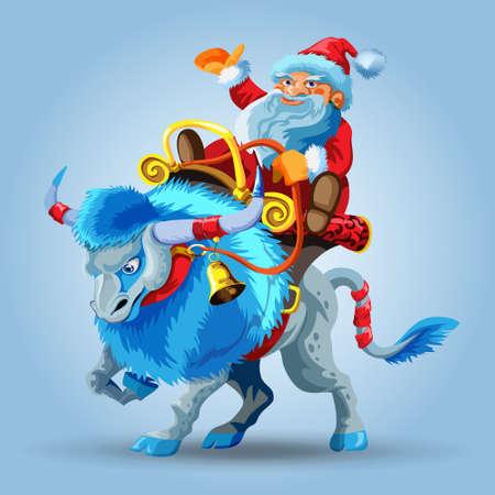 Santa Claus rides a snowy blue bull. Blue taurus with long mane. Santa claus riding a saddle. Happy new year greeting card or banner