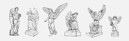 Set off Crying praying Angels sculptures with wings. Coloring page of the statues of an angel. Silhouettes of angel statues. Isolated. Vector illustration.