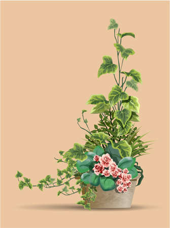 Large beautiful bush of different plants with pink flowers in a flower pot isolated on warm background. Vector illustration. Houseplant design element for modern interior room. 向量圖像