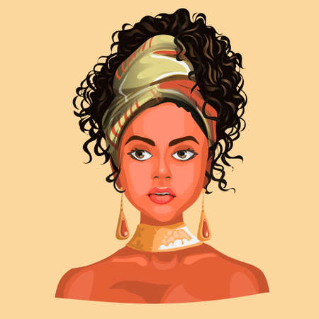 Illustration of an African or latinos Girl Wearing Pretty Head Scarves and Earrings. Exotic hand drawn text. Used for print design greeting card used for print design, banner, poster, flyer template.