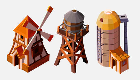Collection of special farm buildings. Water tower, elevator and windmill. Collection buildings isolated on white for buildings. Architectural exterior for cartoon 3d town, game graphics. Ilustração Vetorial