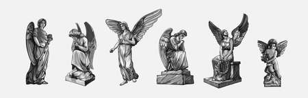Set off Crying praying Angels sculptures with wings. Monochrome illustration of the statues of an angel. Isolated. Vector illustration.