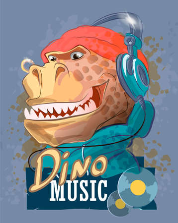 Dinosaur rapper in headphones and a hat. Tyrannosaur, typography slogan.Cartoon character. Can be used for print design greeting card used for print design, banner, poster, flyer template.