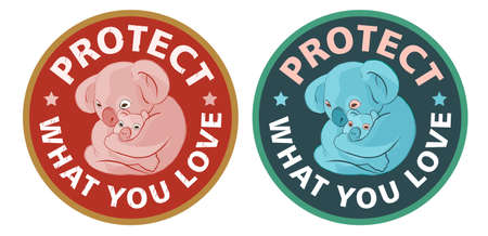 Stylized illustration koala with a little   baby. Protect what you love typographic text. Ecology stickers with slogans. Warm orange background. 向量圖像