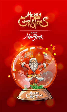 Happy New year, vertical red banner with snow globe with Santa. Classic handmate vector illustration. Merry Christmas text.
