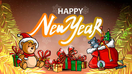 Happy New year banner with large letters, christmas gifts, Teddy bear, gift boxes, toys and Christmas tree branch