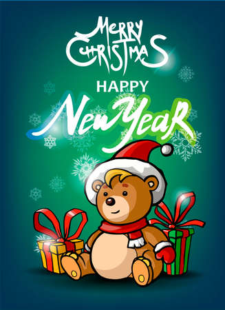 Happy New Year, Merry Christmas green postcard with snowflakes and present with Teddy bear