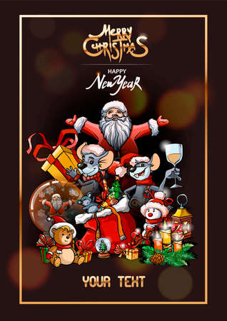 Christmas banner with dark background. Golden border frame, Merry Christmas golden text. Holiday poster with Santa, Rats, Teddy bear, snowman, gifts, candles and other. Vector illustration.