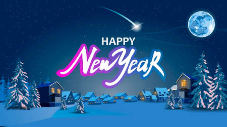 Happy New year text. Christmas card night landscape, trees. Vector stock illustration