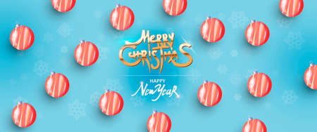 Merry Christmas and Happy New Year. Pattern red balls with blue background. Ilustracja