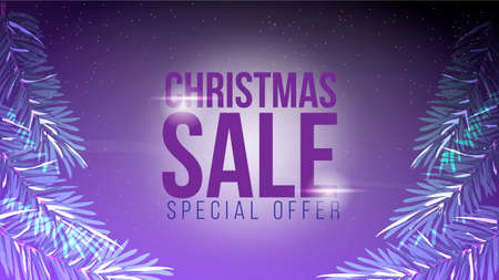 Christmas sale, special offer, dark discount banner with blurred background and christmas branch. Ilustracja