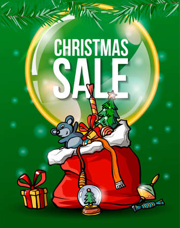 Christmas sale green banner. 2020. Santa Claus gifts. Gift box, rat, toys. Merry Christmas and Happy New year greeting card. Christmas tree. Vector classsic cartoon. Ilustracja