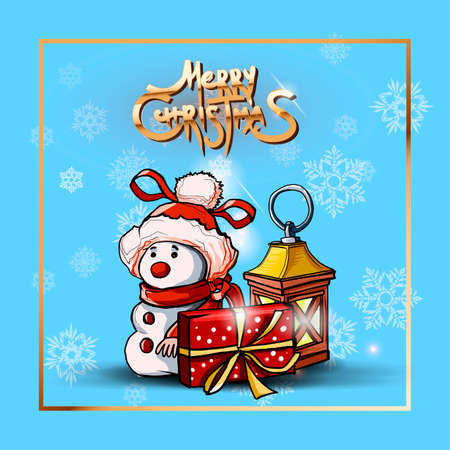 Square banner with snowman, flashlight and gift box on blue background. Merry Christmas golden text. Holiday poster, Happy New Year Gift card. Vector illustration Ilustracja