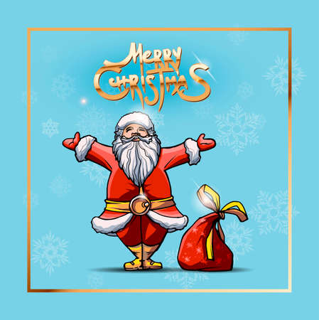 Square banner with Santa and blue background. Classic handmate vector illustration. Merry Christmas golden text. Holiday poster, Happy New Year Gift card Ilustracja