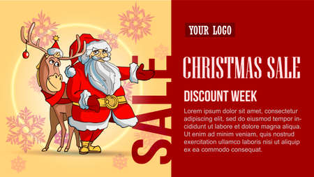 Special offer, beautiful red and yellow discount banner with gift, Santa, deer and snowflakes
