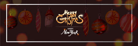 Christmas banner with dark background. White border frame, Merry Christmas golden text. Holiday poster, Happy New Year Gift card. Vector illustration. Ilustracja