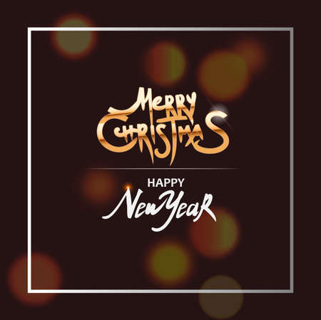 Christmas banner. White border frame, Merry Christmas golden text. Holiday poster, Happy New Year Gift card. vector illustration