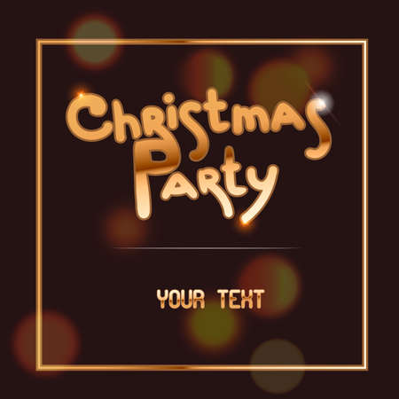 Christmas square banner with dark background. White border frame, Christmas party golden text. Holiday poster, Happy New Year Gift card. vector illustration. Ilustracja