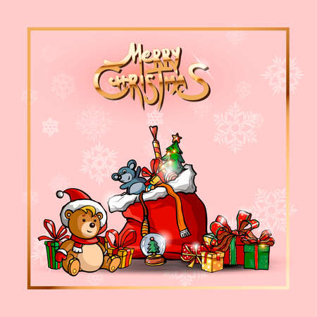 Happy New year. Rat, Teddy bear, christmas toys and gift box. Happy New year greeting card. Merry Christmas golden text and elegant pink background
