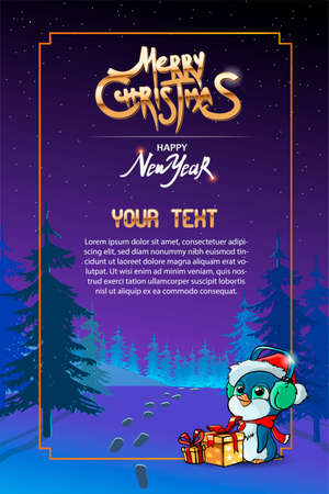 Happy New year greeting card with night landscape, trees, penguin in headphones. Merry Christmas golden text. Holiday poster, Happy New Year Gift card. Vector illustration. Ilustracja