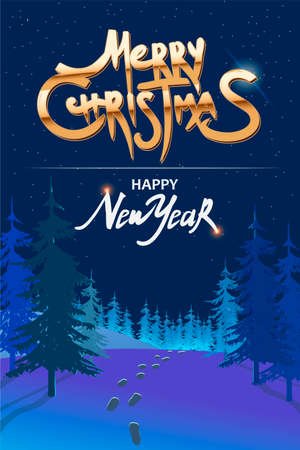 Happy New year greeting card with night landscape, trees and footprints in the snow. Merry Christmas golden text. Holiday poster, Happy New Year Gift card. Vector illustration. Ilustracja