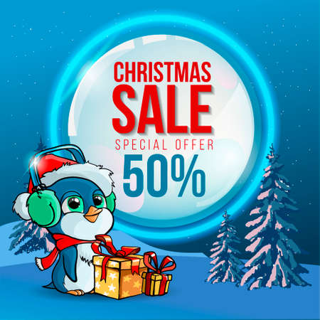 Special offer, Christmas sale, square sea wave banner with penguin in headphones and gift box and Christmas tree. Vector illustration.