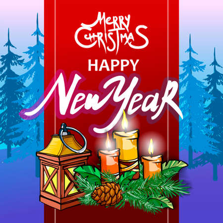 Happy New year. Rat. 2020. Merry Christmas and Happy New year greeting card. Christmas tree
