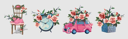 Set with various household items decorated with flowers. Cute little romantic pictures with flowers. Alarm clock, beautiful fishnet chair, gift box, little ping gift car. Beautiful pink roses.Isolated.
