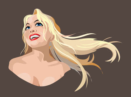 The Long haired blonde girl laughs. Graceful emotion. Beautiful female bust.Cute happy girl face.Colorful vector illustration.