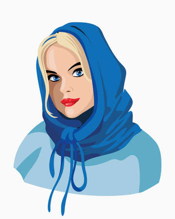 Beautiful blonde girl in a blue scarf.A very nice girl brooding and smiling. Blue Shawl. Emotion woman face. Portrait.Isolated vector illustration. Ilustração