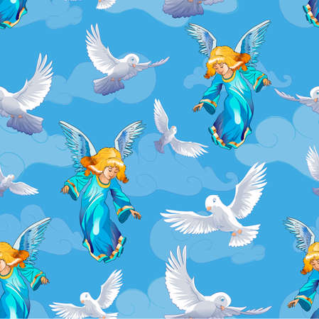 Beautiful seamless pattern. Valentines day card with birds and angels. Pigeons, clouds and girl with blondie hair isolated on white background. Vector illustration.
